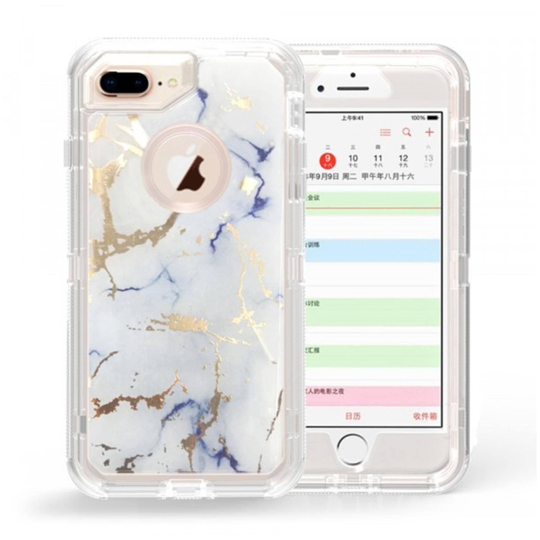 Iphone 8 Plus 7 Plus Marble Design Clear Armor Defender Case White